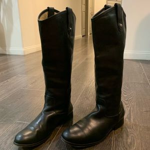 Frye black pull on boots, size 9